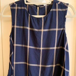 Old Navy Plaid Swing Tank, Navy, Size XS